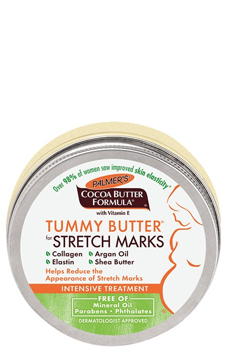 Palmer's Cocoa Butter Formula Tummy Butter helps visibly improve skin elasticity and reduce the appearance of stretch marks.