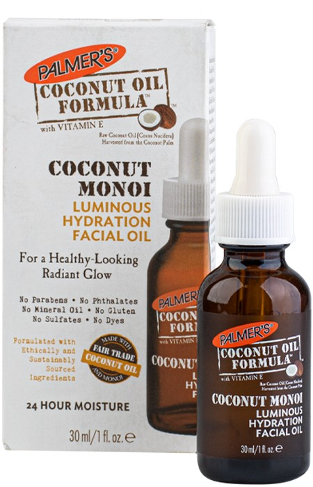 Palmer's Coconut Monoï Luminous Hydration Facial Oil combines Fair Trade Extra Virgin Coconut Oil and 9 other pure precious oils